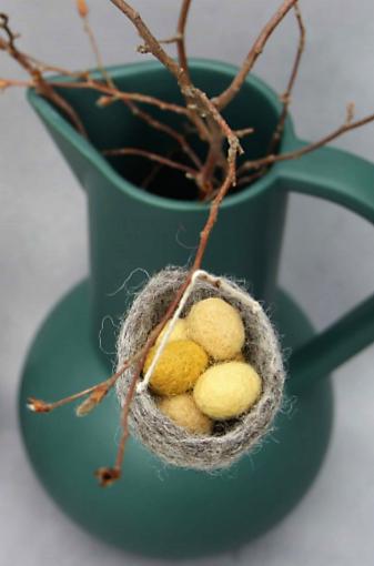 Vilt: nest met eitjes